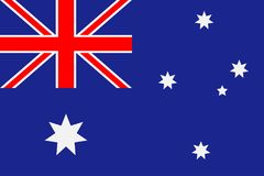 Bandierina dell'Australia Fondo blu con stelle sei-aguzze e una croce rossa Vettore Fotografia Stock