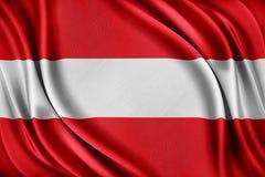 Bandierina dell'Austria Bandiera con una struttura di seta lucida Fotografia Stock