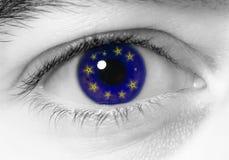 Bandierina dell'Europa dell'occhio Immagini Stock