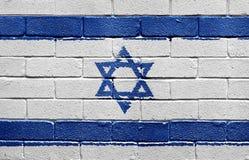 Bandierina dell'Israele sul muro di mattoni Fotografia Stock