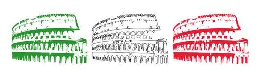 Bandierina dell'Italia con il Colosseo illustrazione vettoriale