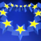Bandierina dell'Ue 3D Immagini Stock Libere da Diritti