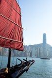 Bandierina della barca a vela a Hong Kong Fotografie Stock Libere da Diritti