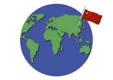 Bandierina della Cina del globo del mondo Fotografie Stock