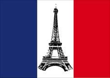 Bandierina della Francia con il giro Eiffel Fotografia Stock Libera da Diritti