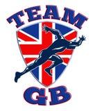 Bandierina della Gran Bretagna dello sprinter del corridore di GB della squadra Fotografie Stock Libere da Diritti