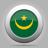 Bandierina della Mauritania Bottone rotondo grigio del metallo brillante Fotografie Stock Libere da Diritti