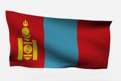 Bandierina della Mongolia 3d Fotografia Stock Libera da Diritti