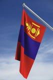 Bandierina della Mongolia con il cielo Fotografie Stock Libere da Diritti