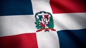 Bandierina della Repubblica dominicana Bandiera della Repubblica dominicana che ondeggia al vento immagini stock libere da diritti