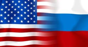 Bandierina della S.U.A.-Russia Fotografia Stock Libera da Diritti