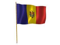 Bandierina della seta del Moldova Fotografia Stock