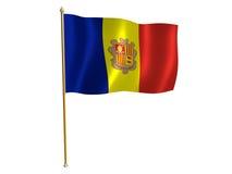 Bandierina della seta dell'Andorra Fotografia Stock