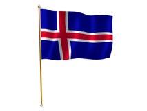Bandierina della seta dell'Islanda Fotografia Stock Libera da Diritti