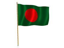 Bandierina della seta della Bangladesh Fotografie Stock Libere da Diritti