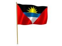 Bandierina della seta di AntiguaandBarbuda Immagini Stock