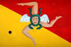 Bandierina della Sicilia con il simbolo di trinacria. L'Italia Fotografia Stock