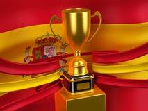 Bandierina della Spagna con la tazza dell'oro Immagini Stock Libere da Diritti