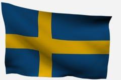 Bandierina della Svezia 3d Fotografie Stock Libere da Diritti
