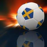 Bandierina della Svezia su gioco del calcio 3d Fotografia Stock Libera da Diritti