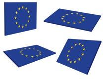 bandierina di 3D Unione Europea (Ue) Fotografie Stock
