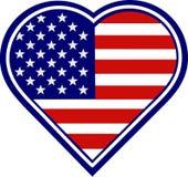 Bandierina di Ameican di figura del cuore Fotografie Stock