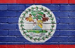 Bandierina di Belize sul muro di mattoni Fotografie Stock Libere da Diritti
