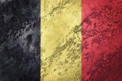 Bandierina di Grunge Belgio Bandiera belga con struttura di lerciume Immagini Stock