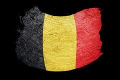 Bandierina di Grunge Belgio Bandiera belga con struttura di lerciume Streptococco della spazzola Fotografie Stock