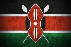 Bandierina di Grunge del Kenia Fotografie Stock