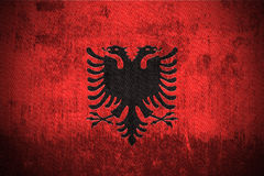 Bandierina di Grunge dell'Albania Fotografia Stock