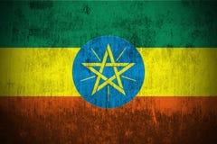 Bandierina di Grunge dell'Etiopia Fotografie Stock