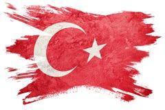 Bandierina di Grunge Turchia I turco diminuiscono con struttura di lerciume Stro della spazzola illustrazione di stock