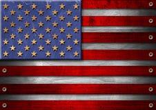 Bandierina di legno degli S.U.A. Grunge Immagine Stock
