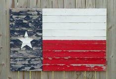 Bandierina di legno verniciata del Texas Fotografia Stock