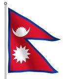 Bandierina di ondeggiamento del Nepal Immagine Stock