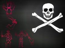 Bandierina di pirata con il cranio Immagine Stock Libera da Diritti