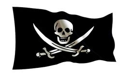 Bandierina di pirata Illustrazione isolata di una bandiera piratesca su un fondo bianco Roger allegro royalty illustrazione gratis