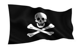 Bandierina di pirata Illustrazione isolata di una bandiera piratesca su un fondo bianco Roger allegro illustrazione di stock