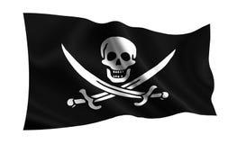 Bandierina di pirata Illustrazione isolata di una bandiera piratesca su un fondo bianco Roger allegro illustrazione vettoriale