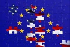 Bandierina di puzzle degli S.U.A. e dell'europeo Fotografia Stock Libera da Diritti