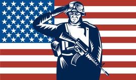 Bandierina di saluto del tecnico di manutenzione militare degli Stati Uniti nella parte posteriore Fotografia Stock Libera da Diritti