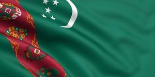 Bandierina di Turkmenistan Fotografia Stock
