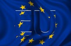 Bandierina di Unione Europea con il testo dell'Ue Immagini Stock