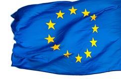 Bandierina di Unione Europea nel vento su bianco Immagini Stock Libere da Diritti