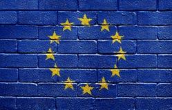 Bandierina di Unione Europea sul muro di mattoni Immagini Stock Libere da Diritti