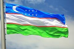 Bandierina di Uzbekistan Fotografia Stock