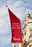 Bandierina di vendita di Harrods Immagine Stock