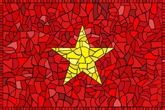 Bandierina di vetro macchiato del Vietnam Fotografia Stock Libera da Diritti