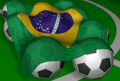 bandierina e calcio-sfere di 3D-rendering Brasile Fotografie Stock Libere da Diritti